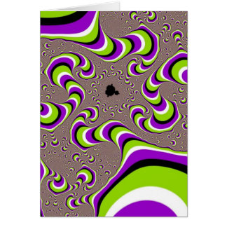 Optical Illusion Purple Green White Holographic Card