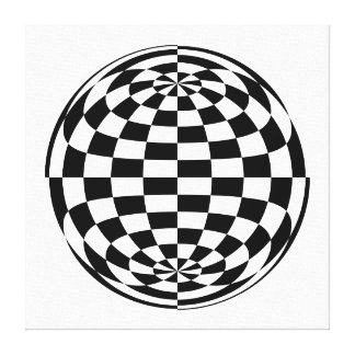 Optical Illusion Round checkers Black White Gallery Wrap Canvas