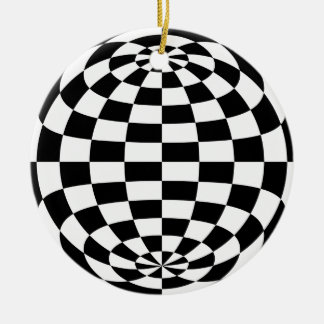 Optical Illusion Round checkers Black White Christmas Ornament