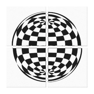 Optical Illusion Round checkers Black White Gallery Wrapped Canvas