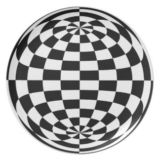Optical Illusion Round checkers Black White Plate