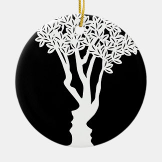 Optical Illusion Tree Faces Concept Christmas Ornament