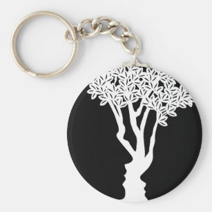 Optical Illusion Tree Faces Concept Key Ring