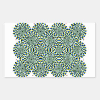 Optical Illusion Wheels Rectangular Stickers