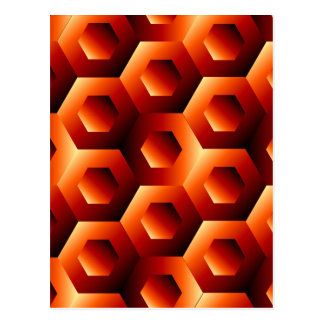 Optical illusion with hexagon postcard