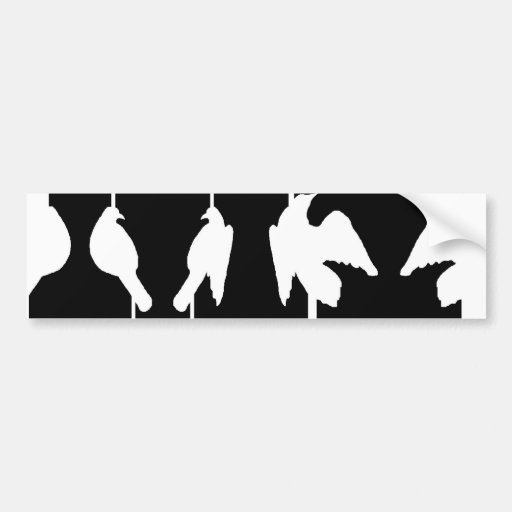 Optical illusion with urns and birds taking flight bumper stickers