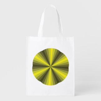Optical Illusion Yellow Reusable Grocery Bag