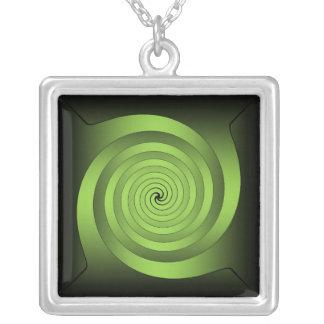 Optical Lt Green Square Pendant Necklace