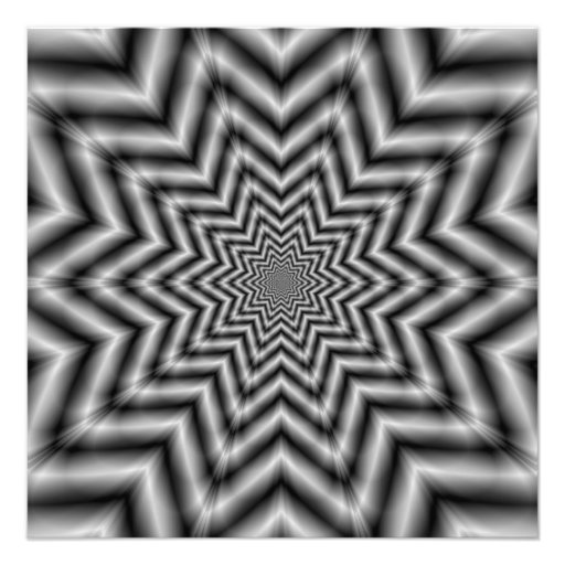 Optically Challenging Star in Black and White Photo Print