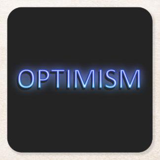 Optimism concept. square paper coaster