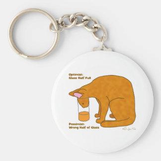 Optimist Pessimist Cat Key Chains