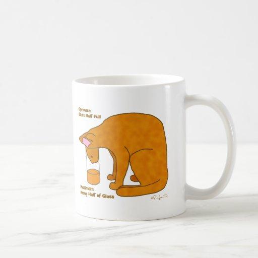 Optimist Pessimist Cat Mug