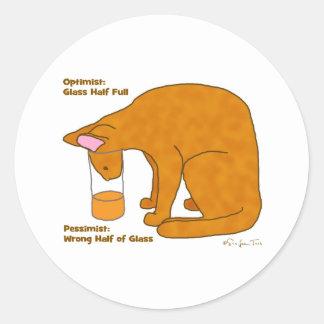 Optimist Pessimist Cat Round Sticker