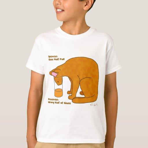 Optimist Pessimist Cat Tee Shirts