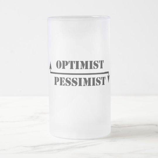optimist/pessimist frosted glass beer mug