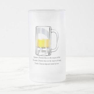 Optimist Pessimist Realist Frosted Glass Mug