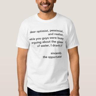 optimist, pessimist, realist, opportunist, chemist shirts