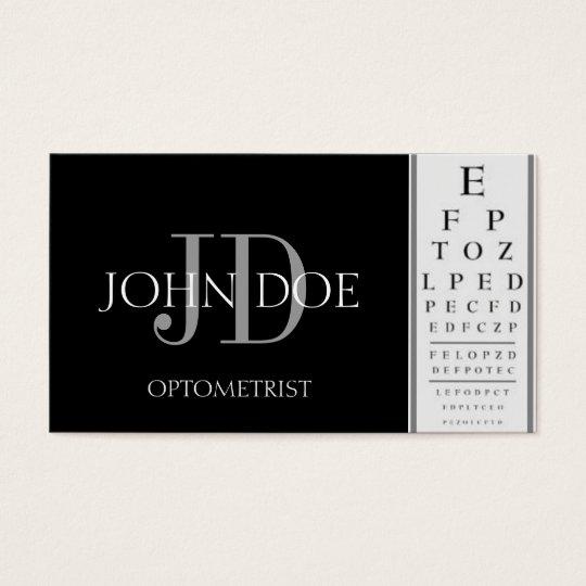 Optometrist Chart Black Business Card
