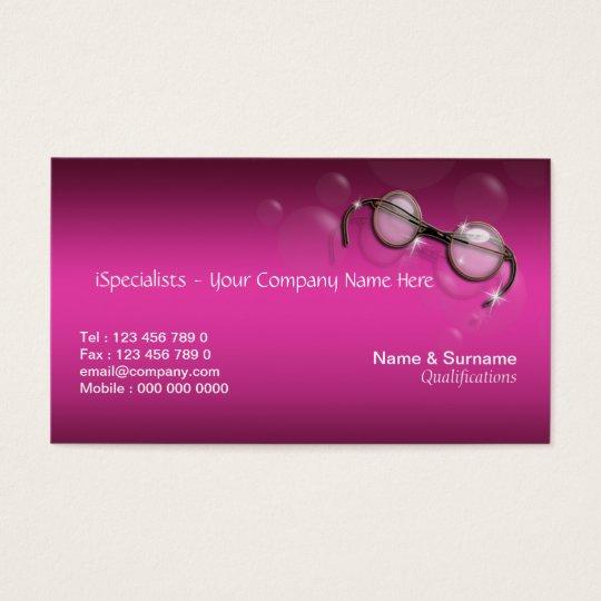 Optometrist optician pink stylish business card