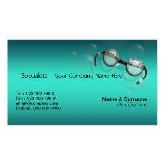 Optometrist optics optician eye turquoise business card template