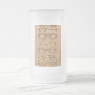 Optometrist - Simple gold frames Frosted Glass Beer Mug