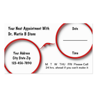 Optometry Appointment Cards Business Cards