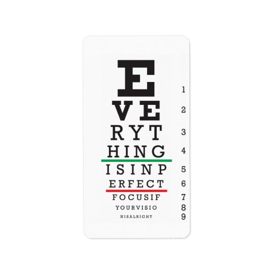 Optometry Eye Chart Illustration Address Label