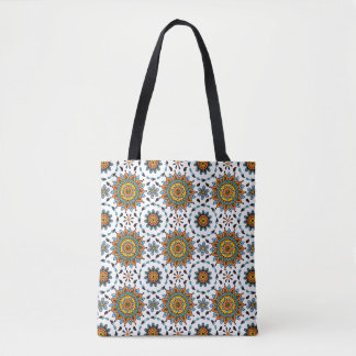 Opulent Maharaja India Tribal Pattern Orange Aqua Tote Bag