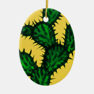 Opuntia Cactus painting with yellow background Ceramic Oval Decoration