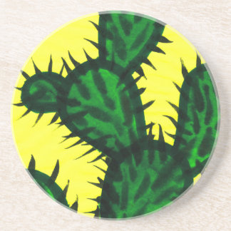 Opuntia Cactus painting with yellow background Drink Coasters