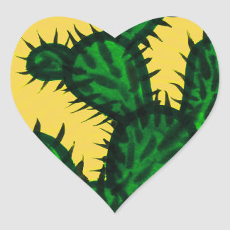 Opuntia Cactus painting with yellow background Heart Sticker