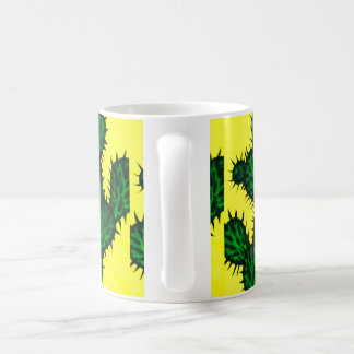 Opuntia Cactus painting with yellow background Mugs