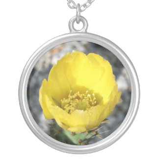 Opuntia Ficus-Indica Prickly Pear Flower Round Pendant Necklace