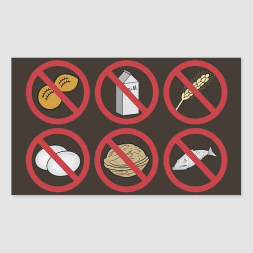 OPUS Food Allergens Rectangle Stickers