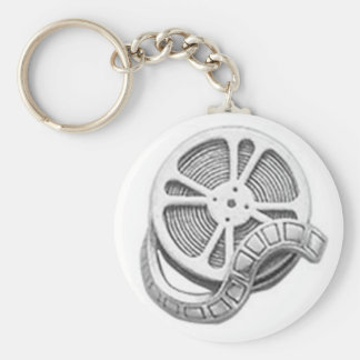 OPUS Silver Film Reel Basic Round Button Key Ring