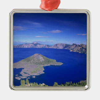 OR, Crater Lake NP, Wizard Island and Crater Silver-Colored Square Decoration