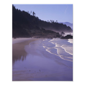 OR, Ecola SP, Indian Beach with morning fog Photo Print