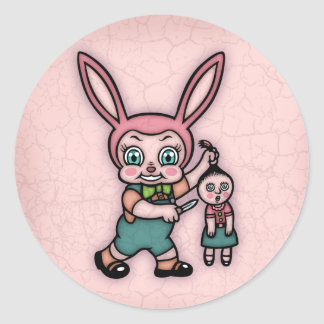 Or Else the Doll Gets It! Round Sticker