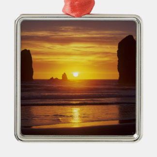 OR, Oregon Coast, Cannon Beach, seastacks at 2 Christmas Ornament