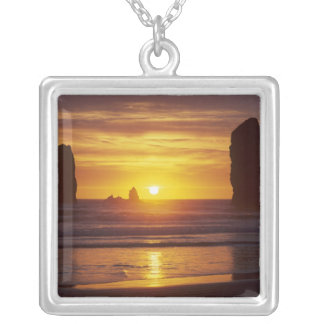 OR, Oregon Coast, Cannon Beach, seastacks at 2 Silver Plated Necklace