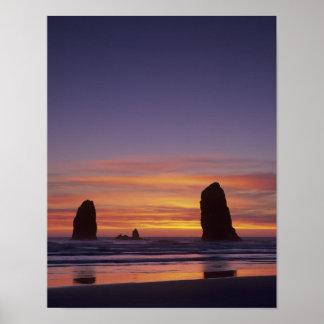 OR, Oregon Coast, Cannon Beach, seastacks at Poster