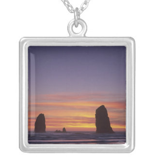 OR, Oregon Coast, Cannon Beach, seastacks at Silver Plated Necklace