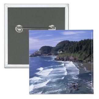 OR, Oregon Coast, Heceta Head Lighthouse, on 15 Cm Square Badge