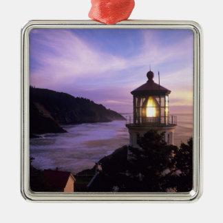 OR, Oregon Coast, Heceta Head Lighthouse, on Silver-Colored Square Decoration