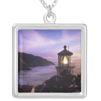 OR, Oregon Coast, Heceta Head Lighthouse, on Silver Plated Necklace