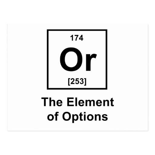 Or, The Element of Options Post Card