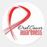 Oral Cancer Awareness Grunge Ribbon Round Sticker