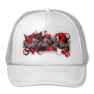 Oral Cancer Fight Like A Girl Grunge Butterfly Trucker Hat
