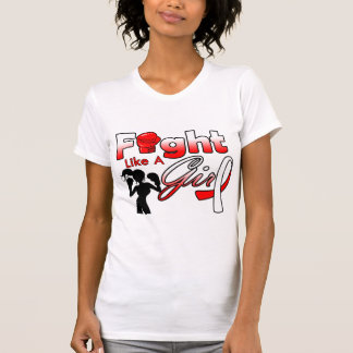 Oral Cancer Fight Like A Girl Silhouette T Shirts