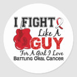 Oral Cancer Fight Like A Guy 15 Round Sticker